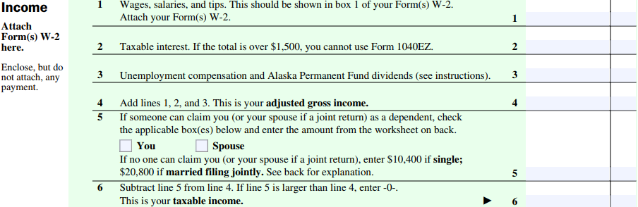 Taxhow 1040ez Step By Step Guide