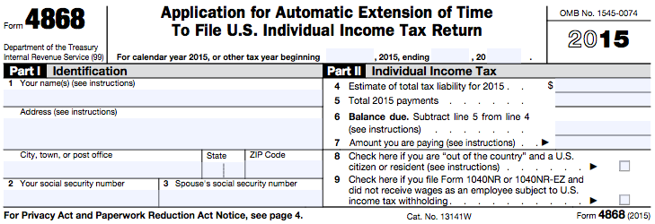 Taxhow Filing An Irs Tax Extension